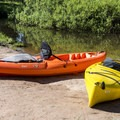 The  put-in is along a narrow channel off the main river.- Clearwater Canoe Trail