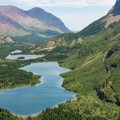 View of the lakes while climbing the switchbacks.- Swiftcurrent Pass Trail