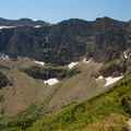 Nearing the Waterfall Wall.- Swiftcurrent Pass Trail
