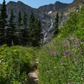 The first good view of a towering waterfall.- Swiftcurrent Pass Trail