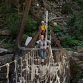 Taking on the V-bridge.- Ausable Chasm