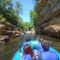 Floating along the Ausable River on the raft ride.- Ausable Chasm