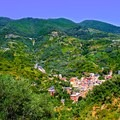 Local village nestled into the rolling hills of Cinque Terre.- Cinque Terre