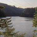 Sunset from a viewpoint near Loon Lake Lodge.- Loon Lake