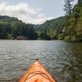 Paddling toward St. Patrick's Rock on the western shore.- Loon Lake