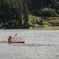 Contributor Daniel Sherman paddling across Loon Lake.- Loon Lake