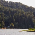Kayakers out for an evening paddle near Loon Lake Lodge Marina.- Loon Lake