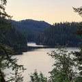 Dusk sets in over Loon Lake from a roadside viewpoint near Loon Lake Lodge.- Loon Lake