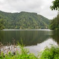 View of Loon Lake from the optional lower trail.- Loon Lake Falls