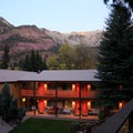 The view from the top of the deck shows the beautiful canyon setting.- Box Canyon Lodge + Hot Springs