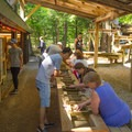 Mining for gemstones.- Natural Stone Bridge and Caves Park
