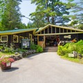 The entrance and gift shop.- Natural Stone Bridge and Caves Park