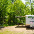 A campsite at Putnam Pond Campground.- Putnam Pond Campground