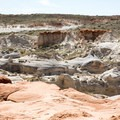 A view of the surrounding desert and rock formations.- Toadstools Trail through Paria Rimrocks