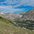 Getting a better view of the craggy peaks guarding the lakes.- South Arapaho Peak
