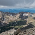 Even in August many snowfields can still be seen.- South Arapaho Peak