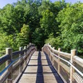 The newly-constructed footbridge over Byrd Lake is a popular fishing spot in the park.- Cumberland Mountain State Park