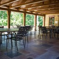 Newly-constructed restrooms, a CCC museum, and a sitting area are next to the restaurant.- Cumberland Mountain State Park