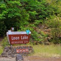 The entrance to the Loon Lake Recreation Site.- Loon Lake Recreation Site