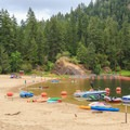 Large designated swim area next to boat beach.- Loon Lake Recreation Site