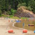 Large buoyed swim area.- Loon Lake Recreation Site
