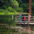 A family enjoying the main fishing dock.- Loon Lake Recreation Site