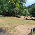 Horseshoe pits in the day use area.- Loon Lake Recreation Site