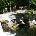 Jumping from the 20-foot cliff.- Frenchman's Hole