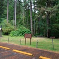 Parking area for five walk-in tent sites.- Loon Lake Recreation Site Campground