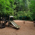 Playground in the campground.- Loon Lake Recreation Site Campground