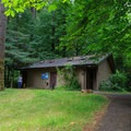 Flush toilets are scattered throughout the campground.- Loon Lake Recreation Site Campground
