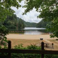 Loon Lake with a sandy beach.- Loon Lake Recreation Site Campground