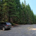Parking area at the trailhead.- Elk Lake Creek: North Trailhead to Battle Creek