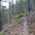 Crossing a talus field as the trail climbs steeply.- Elk Lake Creek: North Trailhead to Battle Creek