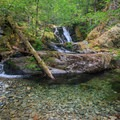 An unnamed waterfall and inviting swimming hole on Welcome Creek.- Elk Lake Creek: North Trailhead to Battle Creek