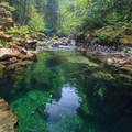Elk Lake Creek pours into Emerald Pool as the flow slows.- Elk Lake Creek: North Trailhead to Battle Creek