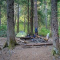 Well-developed campsite at the end of this section of trail.- Elk Lake Creek: North Trailhead to Battle Creek