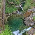 An unnamed waterfall on Elk Lake Creek.- Elk Lake Creek: North Trailhead to Battle Creek