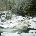 Winter view of the falls.- Northwest Bay Brook Falls