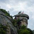 Chimney Rock from the parking lot.- Chimney Rock State Park