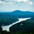 Lake Lure seen from the parking lot.- Chimney Rock State Park