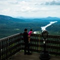 There are multiple viewing places along the walkway at the top.- Chimney Rock State Park