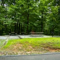 Day use picnic area with grills.- Chimney Rock State Park