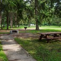 Handicapped-accessible picnic areas are available.- Crown Point Campground