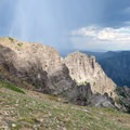 Rocky cliffs by Big Horn Peak.- Sky Rim Trail: Specimen Creek to Black Butte