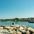 Looking upstream the Kennebunk River from the west jetty.- Gooch's Beach