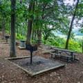 Picnic area overlooking vista near Jackson Falls parking lot.- Baker's Bluff Trail
