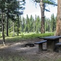 A typical campsite at Seeley Lake.- Seeley Lake Campground