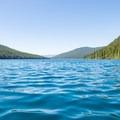 Looking back toward the end of the lake.- Bowman Lake Paddle