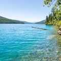 Secluded shores of Bowman Lake.- Bowman Lake Paddle